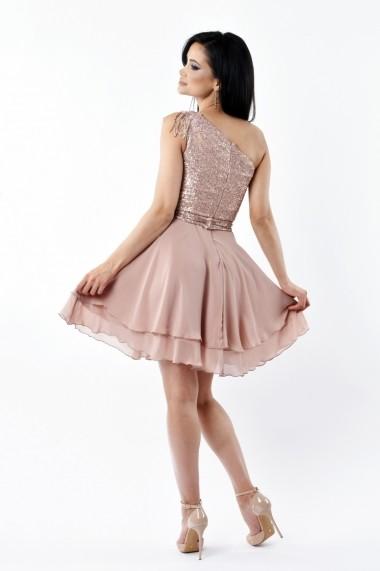 Rochie scurta de seara Lille Couture LIL 19RSS 005, roz prafuit