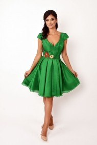 Rochie de seara midi Lille Couture Iarina din organza Verde