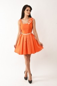 Rochie midi Lille Couture din tafta Ioana portocalie