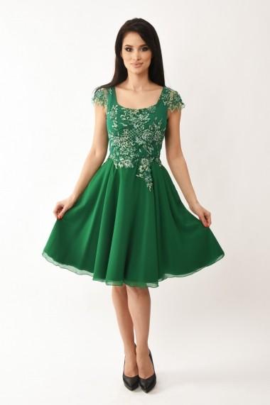 Rochie midi Lille Couture din dantela brodata si tull Marga, verde
