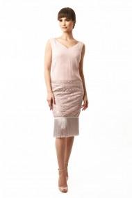 Rochie midi Lille Couture din voal cu aplicatii de dantela Coca, roz