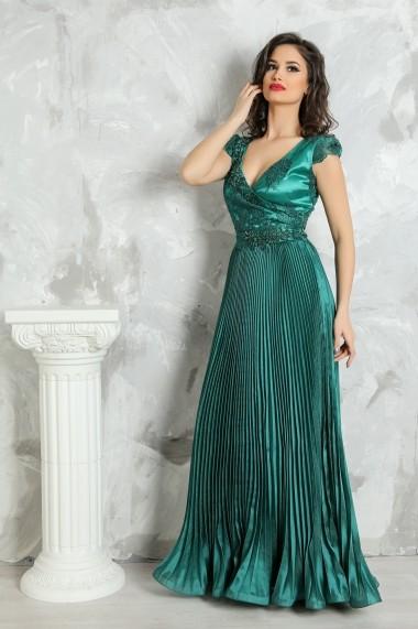 Rochie de seara lunga Lille Couture din organza verde