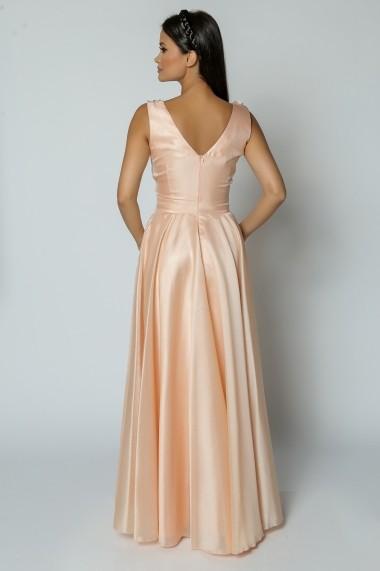 Rochie de seara lunga din voal piersica Lille Couture Violeta