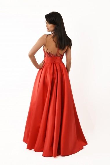 Rochie de seara Lille Couture din tafta Casiana rosie
