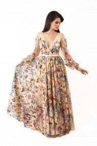 Rochie lunga de seara Lille Couture din tull Paula, bej cu broderii florale