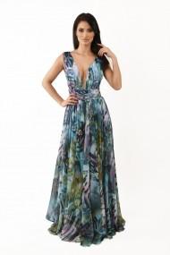 Rochie lunga de seara Lille Couture din voal imprimat, Mara, multicolor