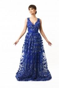 Rochie lunga de seara Lille Couture, Gina, din dantela, albastra
