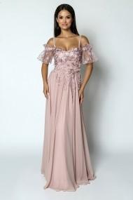 Rochie lunga de seara Lille Couture din voal, Iris, roz