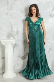Rochie lunga de seara Lille Couture din organza, Lucia, verde