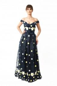 Rochie lunga de seara Lille Couture din organza, Mery, bleumarin