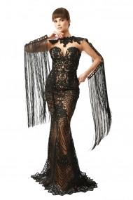 Rochie lunga de seara Lille Couture din dantela brodata Aretha, neagra