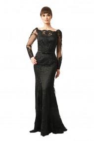 Rochie lunga de seara Lille Couture din dantela Nely, neagra