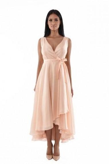 Rochie lunga de seara Lille Couture, Rita, din voal, roz