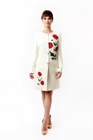 Palton Lille Couture din stofa brodat, Mara, alb