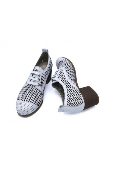 Pantofi piele naturala Torino 382 albi
