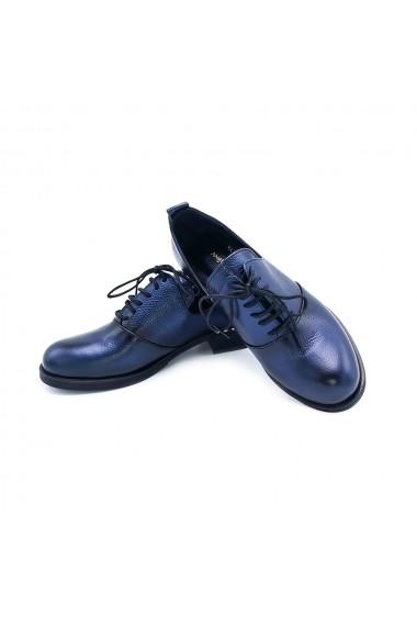 Pantofi piele naturala Torino 845 albastri sidef
