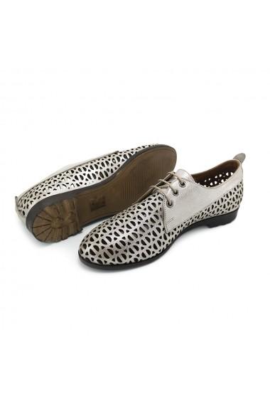 Pantofi piele naturala Torino 721 vizon Argintiu