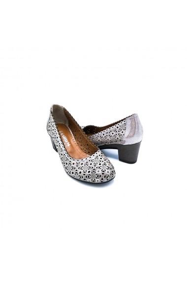 Pantofi piele naturala Torino 214 bej inchis