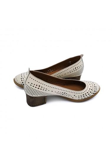 Pantofi piele naturala Torino 105 Crem