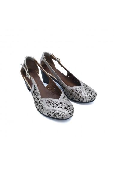 Pantofi piele naturala Torino 405 gri-bej sidef