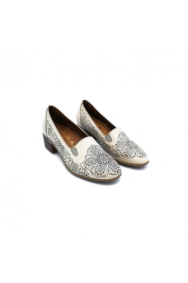 Pantofi piele naturala Torino 818 crem