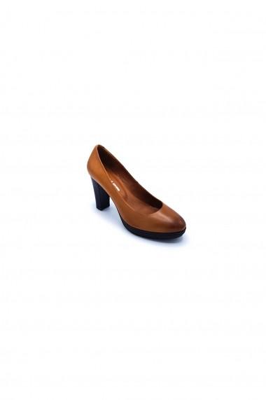 Pantofi piele naturala Torino 7552-2 maro-roscat