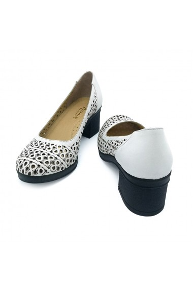 Pantofi piele naturala Torino 125 albi