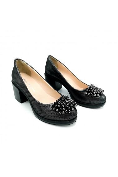 Pantofi piele naturala Torino 4030 gri sidef