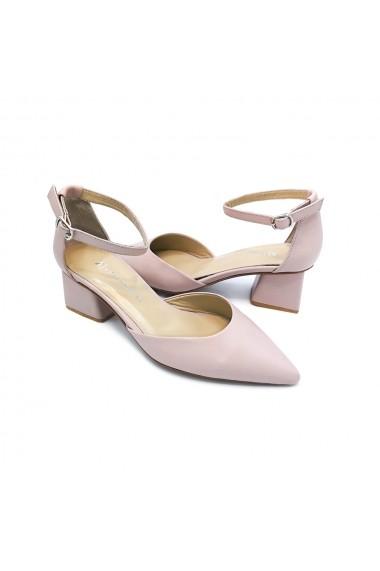 Pantofi piele naturala Torino 6654 roz pudra