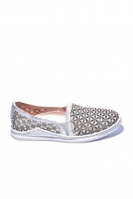 Pantofi piele naturala Torino 36 argintii
