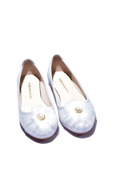 Balerini piele naturala Torino 2711 albi sidef
