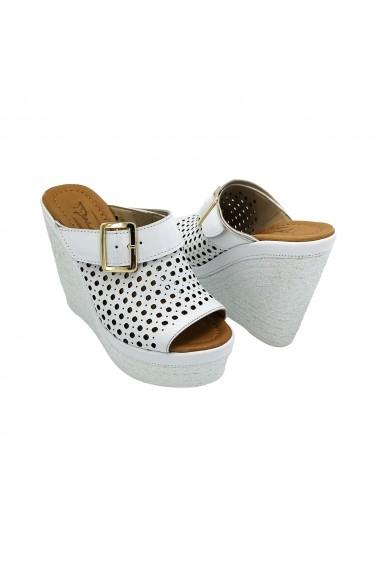 Papuci piele naturala Torino 31-29-01 albi