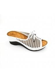 Papuci piele naturala Torino 749-2 alb