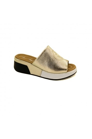 Papuci piele naturala Torino 1801-1 aurii