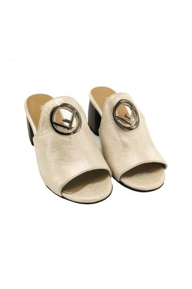 Papuci piele naturala Torino 2019 crem sidef