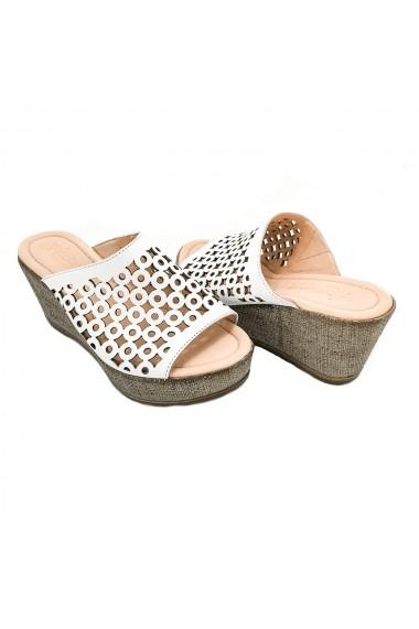 Papuci piele naturala Torino 863 albi