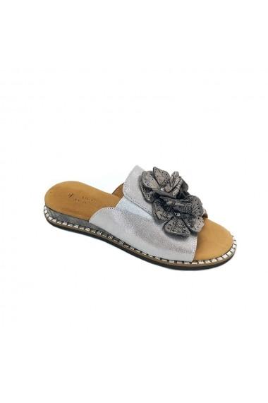 Papuci piele naturala Torino 4103 argintii