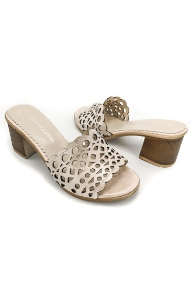 Papuci piele naturala Torino 51 roz sidef