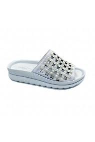 Papuci piele naturala Torino 1301 alb sidef