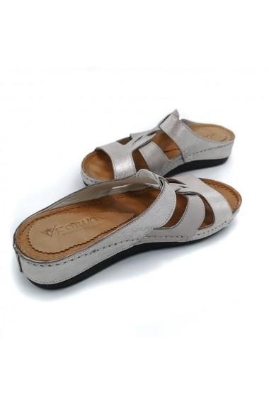 Papuci piele naturala Torino 90-59 vizon