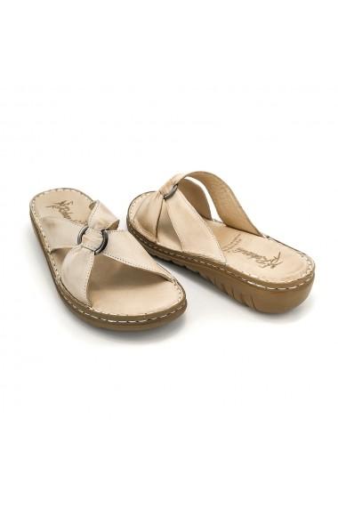 Papuci piele naturala Torino 130 bej