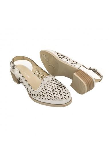 Sandale piele naturala Torino 9678 albe sidef