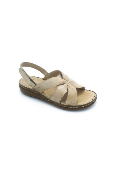 Sandale plate piele naturala Torino 127 bej