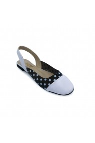 Sandale piele ecologica Torino 53 albe cu negru