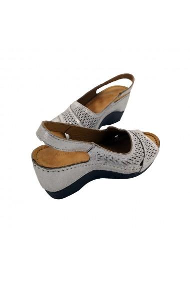 Sandale cu platforma din piele naturala Torino 07-104 Argintiu