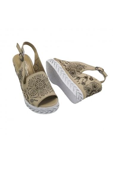 Sandale cu platforma din piele naturala Torino 551-11 bej