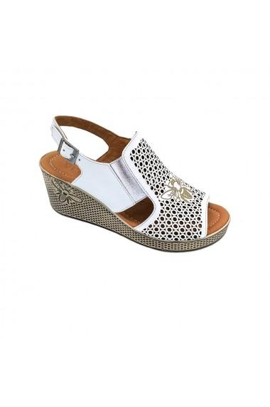 Sandale cu platforma din piele naturala Torino 835-01 albe