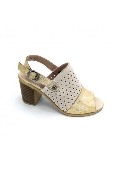 Sandale piele naturala Torino 520 bej cu auriu