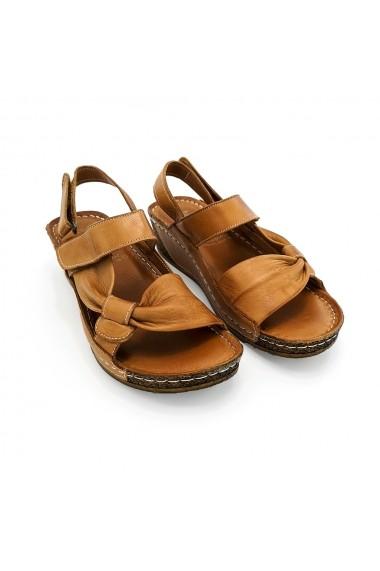 Sandale cu platforma din piele naturala Torino 121 maro