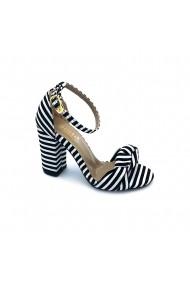 Sandale material textil Torino 017 albe cu negru